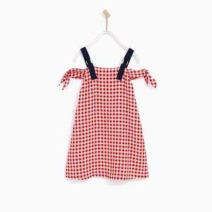 Zara girls red gingham dress with straps